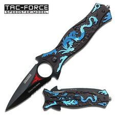 "8"" TAC FORCE BLUE DRAGON SPRING ASSISTED FOLDING KNIFE Pocket Blade Open Switch"