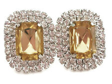 CLIP ON Stud Earrings Large Champagne & Clear Diamante Rectangular Cluster UK
