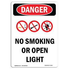 Osha Danger Sign - No Smoking Or Open Lights | Heavy Duty Sign or Label