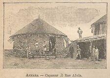 A0821 Asmara - Capanna di Ras Alula - Stampa Antica del 1911 - Xilografia