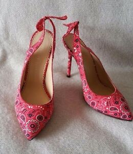 New Charlotte Olympia Monroe Bandana Sling back pump heel 8 38 Red Shoe