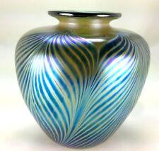 1989 STEPHEN FELLERMAN Pulled Feather Art Glass Vase Iridescent