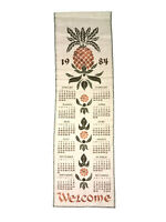 Vintage 1984 Wekcome Calendar Dish Tea Towel Size 28 X 8 In