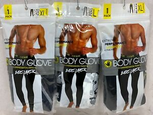 NEW MENS BODY GLOVE COMPRESSION PANTS BASE LAYER ACTIVE FIT BLACK /GREY L / XL