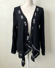 Love Tree Long Sleeve Black Sheer Embroidered Cardigan Wrap Top Size Large