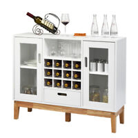 Wood Wine Storage Cabinet Sideboard Console Buffet Server w/ Wine Rack & Drawer
