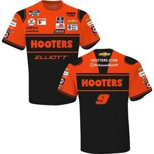 Chase Elliott 2021 #9 Hooters Uniform NASCAR Black Sublimated Race Shirt L XL