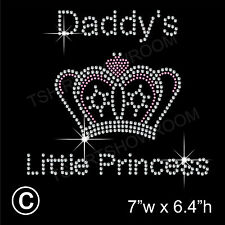 Daddy's Little Princess Rhinestone Transfer Hotfix Ironon Motif with a Free Gift