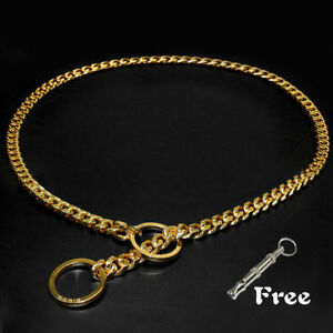 Gold Chain Dog Choke Collar Pet Small Large Dog Show Collar Necklace & Whistle
