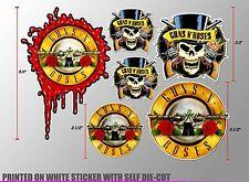 *1 SET GUNS AND ROSES GUNS N ROSES ROCK MUSIC BAND DECAL STICKER PRINTED DIE-CUT