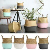 38x34cm Seagrass Belly Basket Flower Plant Pot Laundry Storage Bag Home  Y  AU1