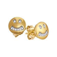 10K Yellow Gold Diamond Earrings Round Smiley Face Diamond Studs 1/20ct