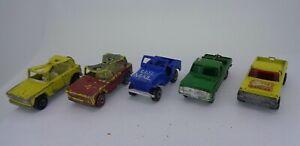 5x Vintage Lesney Matchbox Field Car Sleet N Snow Ford Truck Wild life Kennel