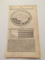 K66) Plan of Coliseum Colosseum Rome Italy Architecture History 1842 Engraving