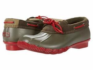 Sperry Women's Saltwater 1-Eye Rain Boot, Green/Red, Size 9.0 Me9B