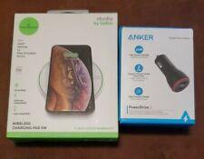 Belkin Studio 5W Wireless Qi Charging Pad + Anker 24w 2 Port Car Adapter Charger