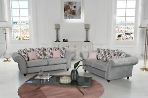 NEW ROMA CHESTERFIELD FABRIC SOFA 3+2 SUITE OR 3 SEATER LIGHT GREY FABRIC