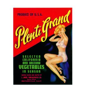 Pin up girl plenti grand arizona vegetables metal wall plaque sign