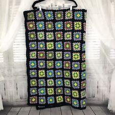 """Vintage Black Handmade Crochet Granny Square Crocheted Afghan Blanket 47x77"""""""