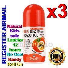 Pearl's roll on lotion Mosquito Insect Bug Repellent Natural No Deet for Kids x3