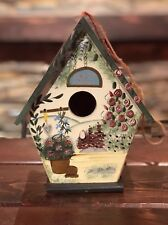 Decorative Hand-Painted Wooden Bird House 8 1/2� Tall