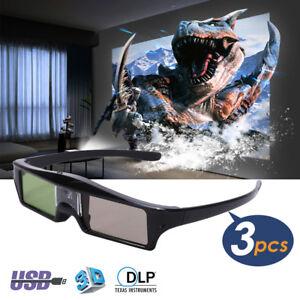 3x Universal Aktive Shutter 3D Brille für Optoma BenQ ALL 3D DLP-Link Projektor