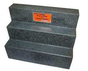 Brown & Sharpe Black Granite Angle Plate - Surface Step Plate 12 x 9 x 6