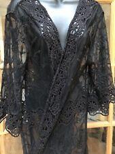 Lace Kimono Black Vintage Look Embroidered Cloak