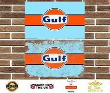 Gulf Metal Sign Wall Plaque Le Mans Ford Porsche Ferrari Garage Retro Man Cave