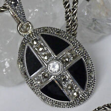 SET edles Medaillon z.Öffnen Silberkette 925 Silber Handarbeit Markasit ONYX