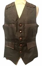 Steampunk Raven Gothic Black  Waist Coat Wit Brown Leather look Trim Size XL
