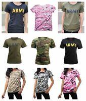Womens Ladies Army Hunt Gym Training Running Boot Camp Camo T-Shirt Top Tee