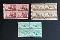 US Stamps, Scott #1077, 1078 & 1079 Wildlife Conservation 3c blocks of 4 XF M/NH