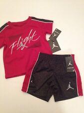 Nike Air Jordan Baby Boy Outfit Set Shirt Shorts Size 12 18 24 Months Black Red