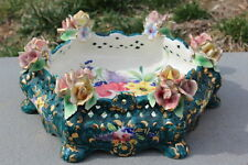 "Vintage Italian Capodimonte Handpainted Blue Hexegon Bowl w/ Flowers, 11"" D"