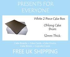 "5 x 12"" x 9"" Inch Oblong Cake Box & 12"" x 9"" Rectangular Cake Drum"
