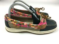 Sperry Top-Sider Womens Size 8M Blue Leather Floral Accent #STS91741 Boat Shoes