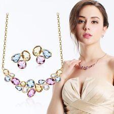 De Varios Colores Joyas Novia Cristal Genuino Austria Conjunto pendientes collar
