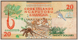 Cook Islands 20 Dollars 1992 Pick 9