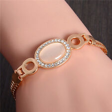 18K Yellow Gold Plated Crystal Bracelet Bangle CZ Women Lady Gift 21CM