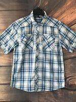 Men's The North Face Plaid Blue White Shorts Sleeve Snap Button Down Shirt Sz M