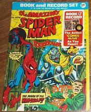 Vintage Amazing Spider-Man Book & Record Set 45 Rpm Mark of the Man-Wolf 1974
