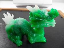 Chinese Oriental Lucky Feng Shui Green Jade Tone Dragon Year Figurine Statue #Aq