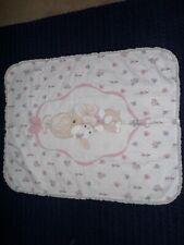 Vintage Precious Moments Bunny Throw Baby Blanket Sam B Eyelet Ruffle
