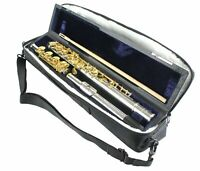 FLUTE Open Hole B Foot SILVER & GOLD ENGRAVED Keys Lip POINTED Arms + Case & Bag