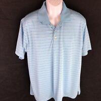 Bolle Golf Tech Polo Mens Stripe Blue Shirt Athletic Top Short Sleeve XL