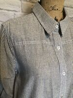 UMGEE Women's Shirt BoHo Top Small Blue/White Stripes Tunic NEW Lace Hi-Lo Hem
