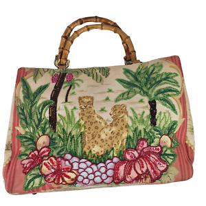 Isabella Fiore Cheetah Giraffe Palm Tree Beaded Canvas Bag W/ Bamboo Handles