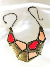 Designer Statement NECKLACE Antique Bronze Orange Enamel Premier Urban Chic r10F