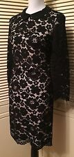 Ted Baker London Ameera 3/4 Sleeve Black Scallop Hem Lace Dress Size 12 NWT $349